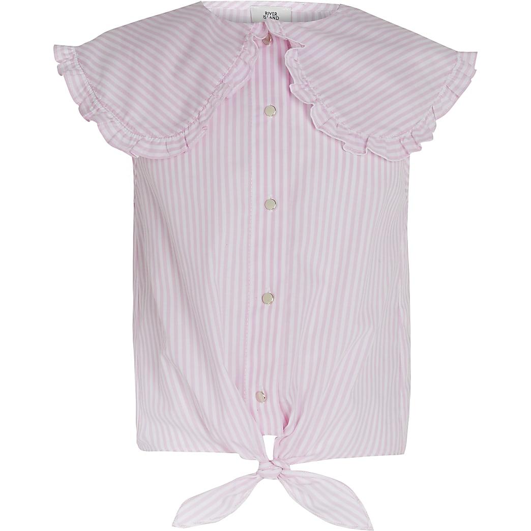 Girls pink stripe tie front collared top