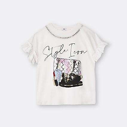 Girls pink 'Style Icon' print t-shirt