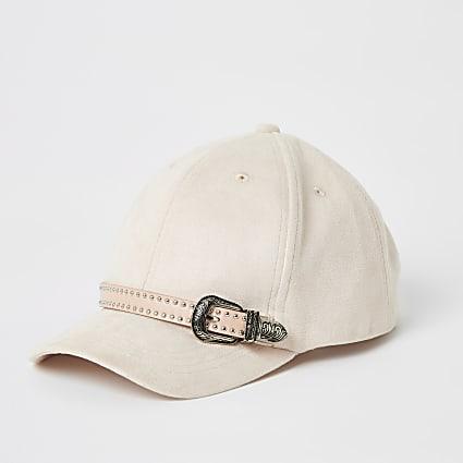 Girls pink suedette western buckle cap
