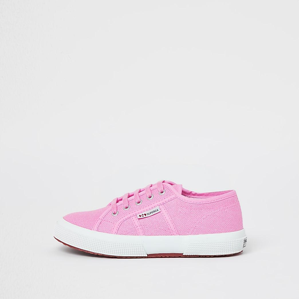 Girls pink Superga plimsolls