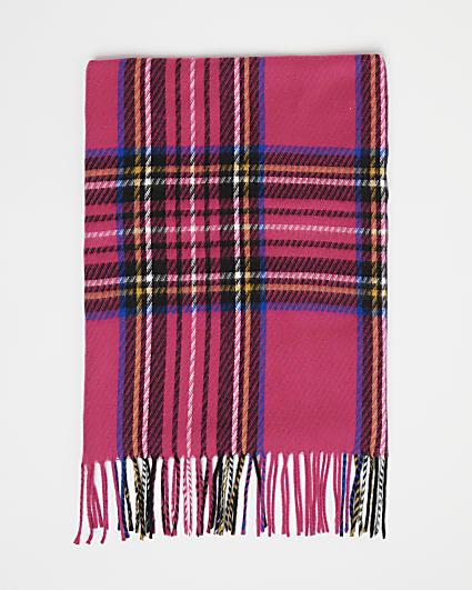 Girls pink tartan print scarf