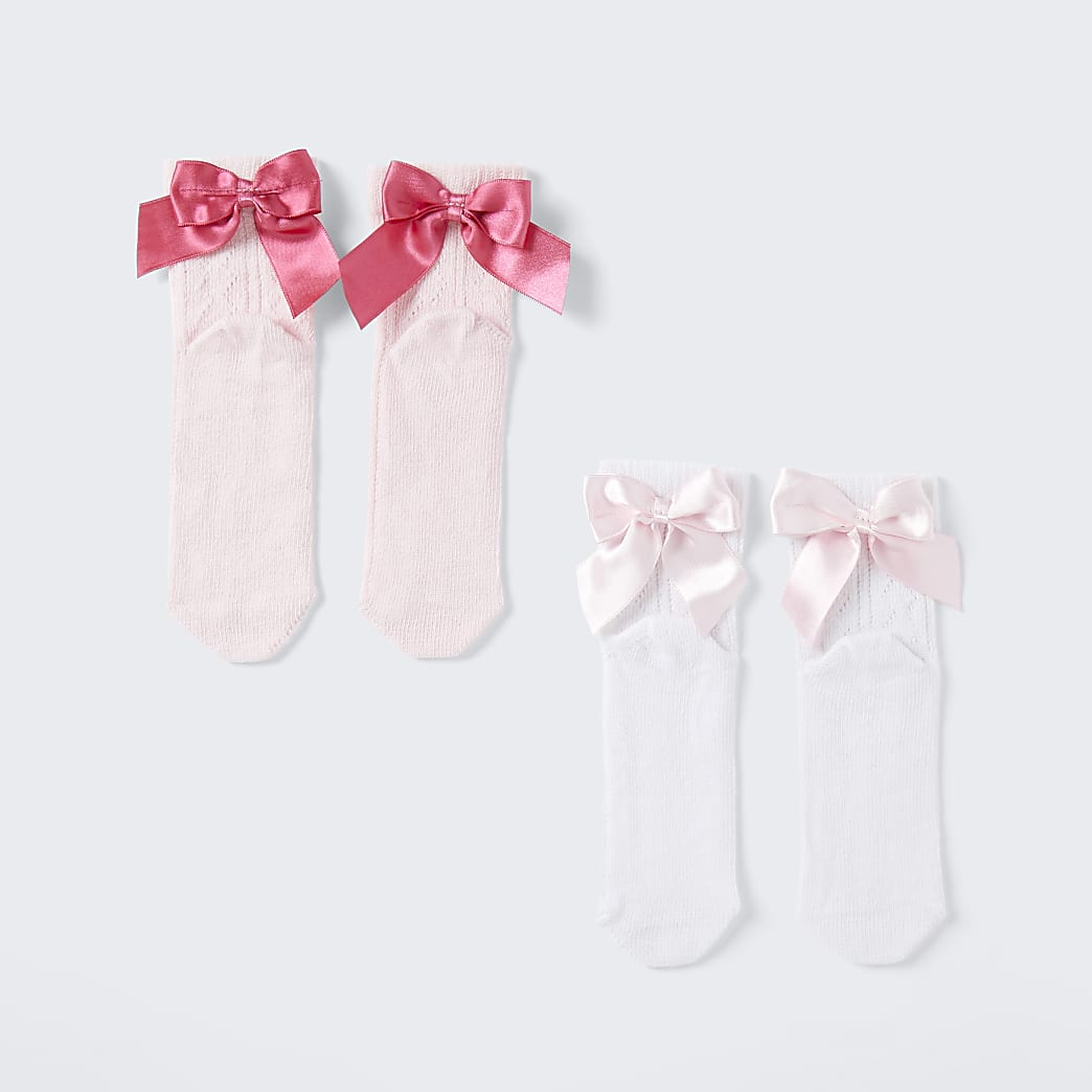 Girls pink textured bow socks 2 pack