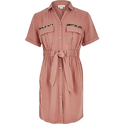 Girls pink tie belted utility shirt dress