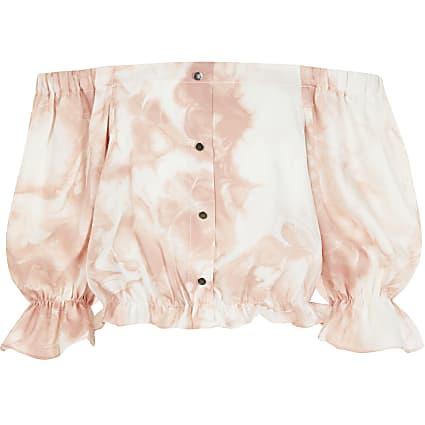 Girls pink tie dye bardot cropped top