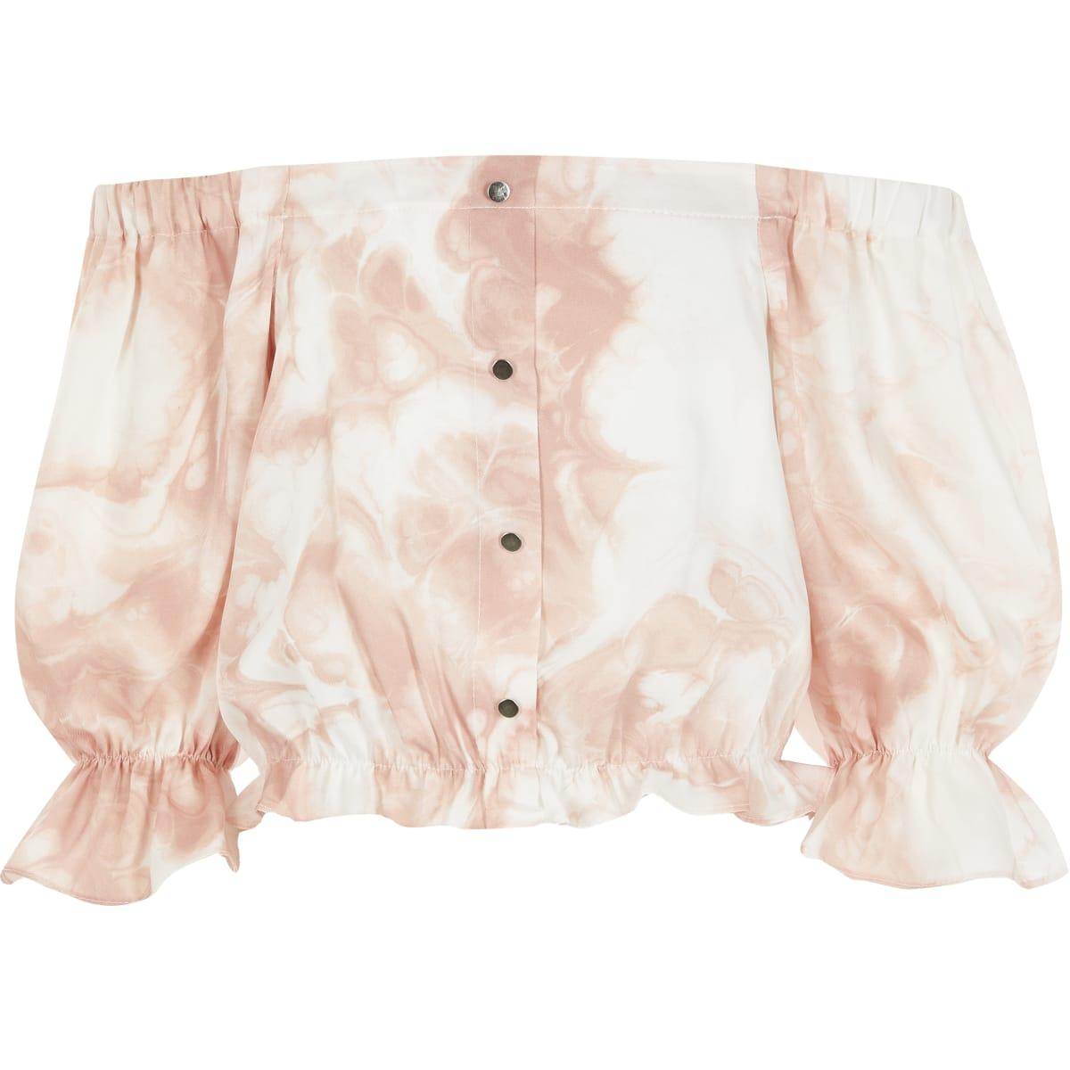 Roze tie-dyebardotcropped top voor meisjes