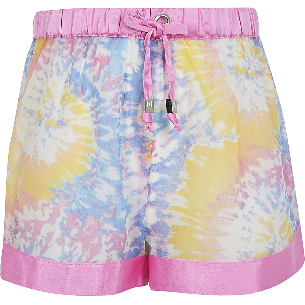 Girls pink tie dye beach short