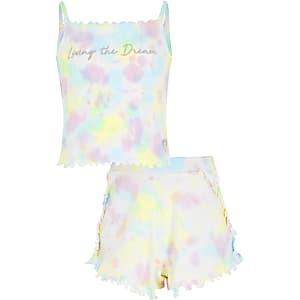 Roze camitop pyjama met tie-dye-print voor meisjes