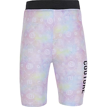 Girls pink tie dye cycle short