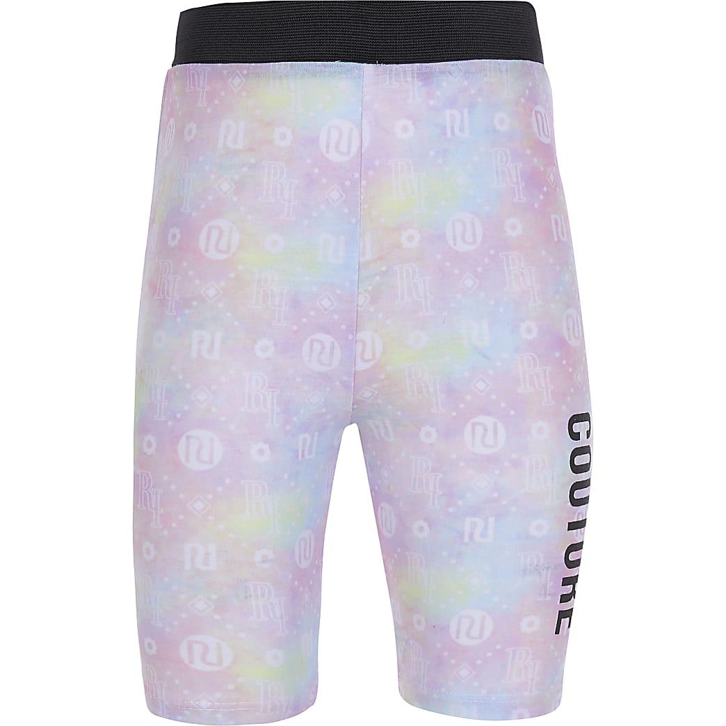 Girls pink tie dye cycle short