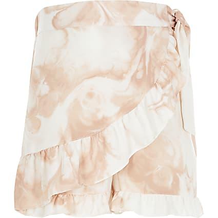 Girls pink tie dye frill wrap skort