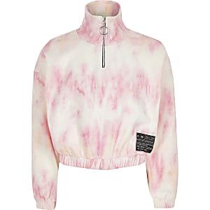 Sweatshirt mit rosa Batikmuster und Halbreißverschluss für Mädchen