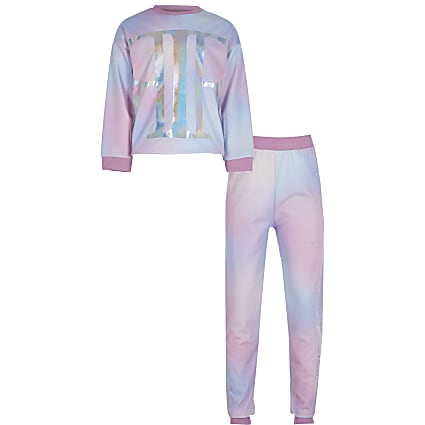 Girls pink tie dye loungewear set