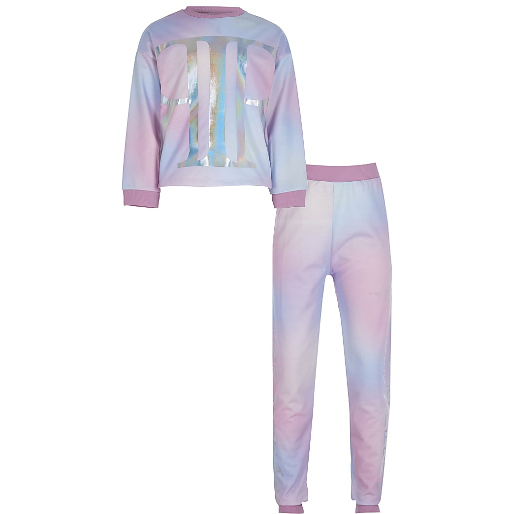 Girls pink tie dye loungewear set