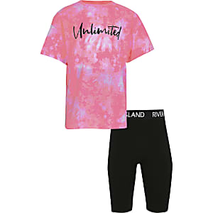 Girls pink tie dye print t-shirt outfit