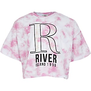 Girls pink tie dye printed pearl crop t-shirt
