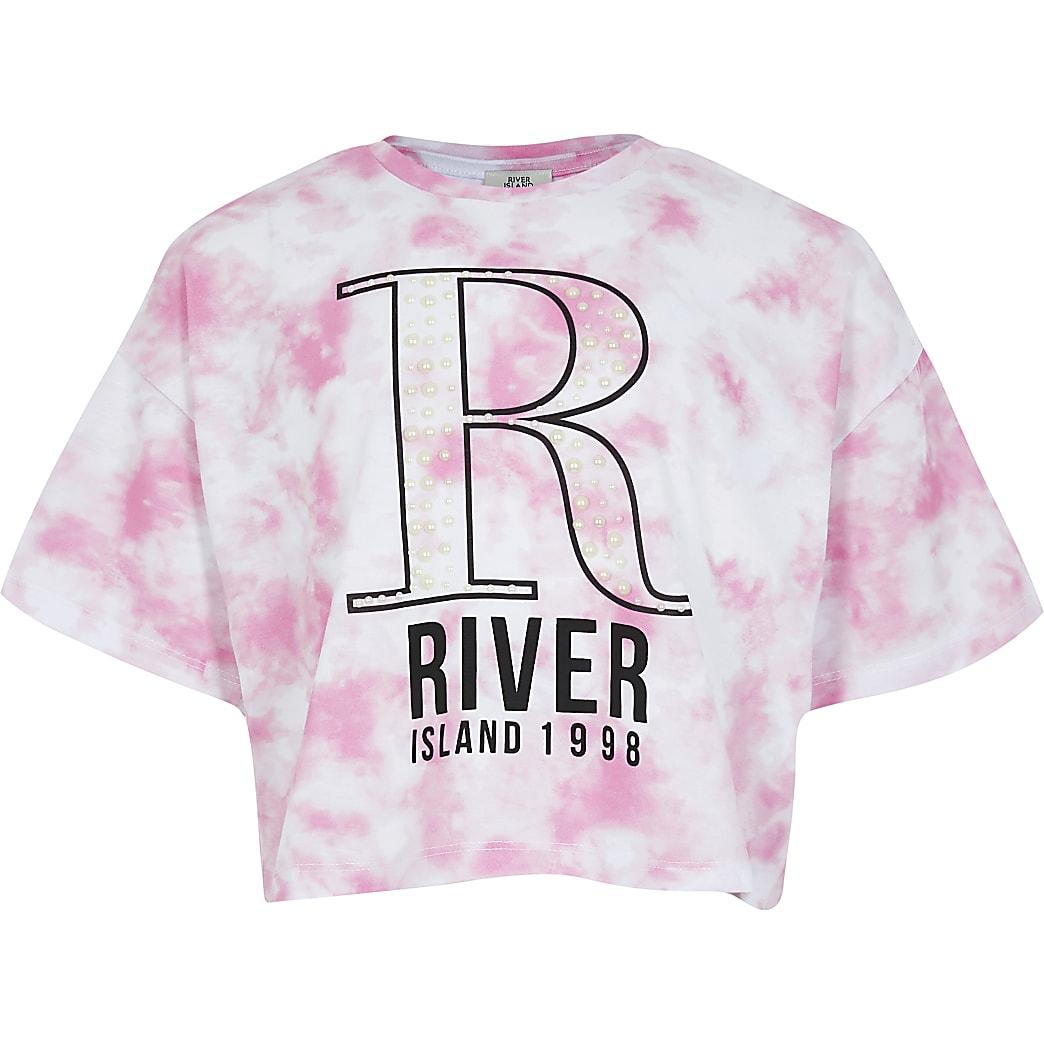 Girls pink tie dye printed pearl crop t-shirt