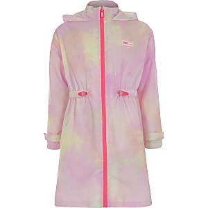 RI – Regenmantel mit Kapuze in rosa Batikoptik für Mädchen