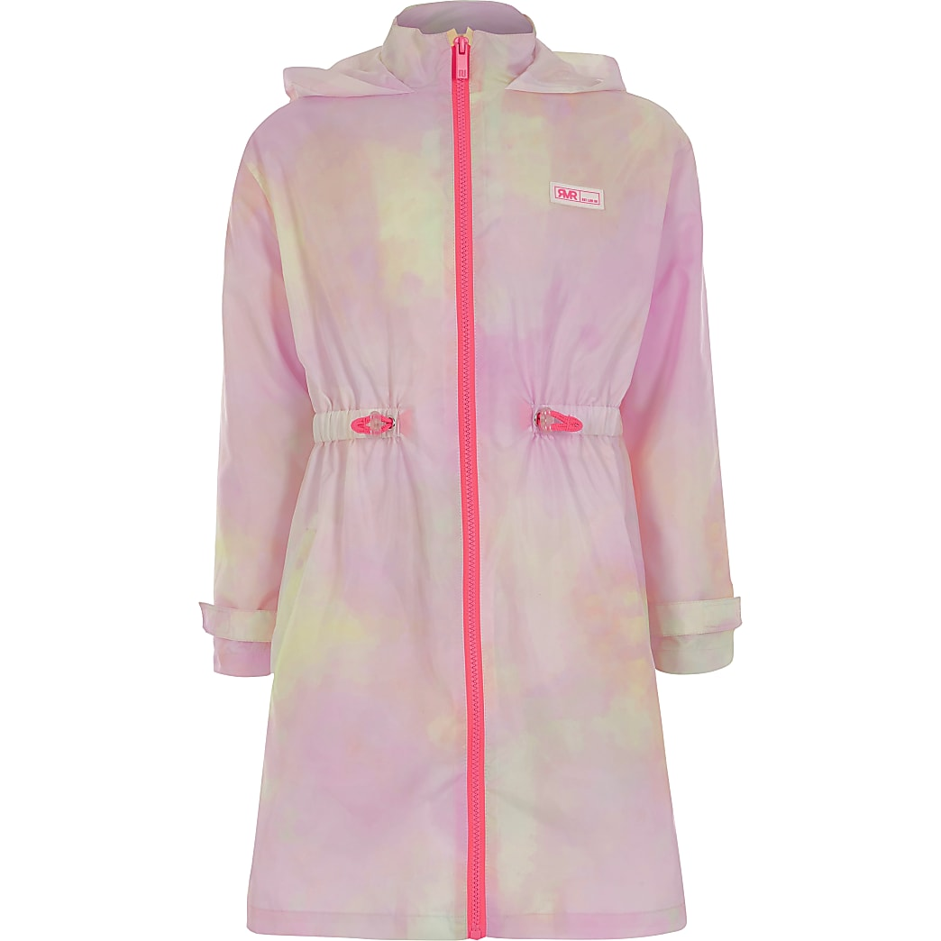 Girls pink tie dye RI hooded rain coat