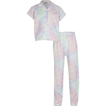 Girls pink tie dye RI monogram pyjama set