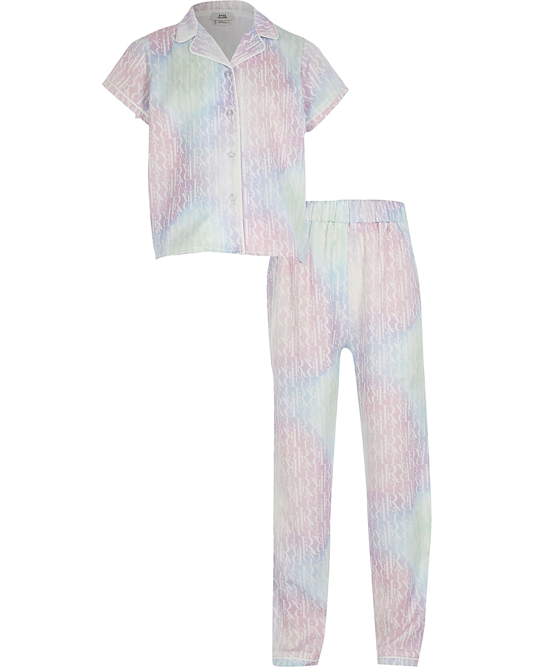 Girls pink tie dye RI monogram pyjamas