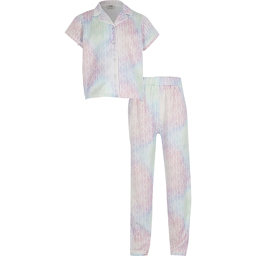Girls pink tie dye RI monogram pyjamas
