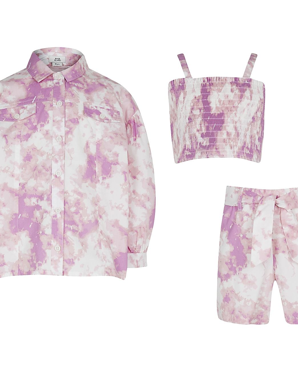 Girls pink tie dye shirt and shorts outfit