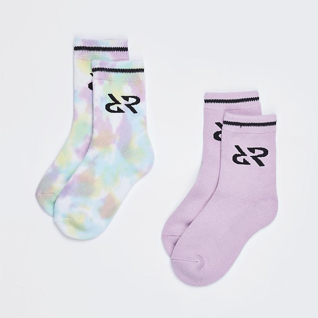Girls pink tie dye sports socks 2 pack