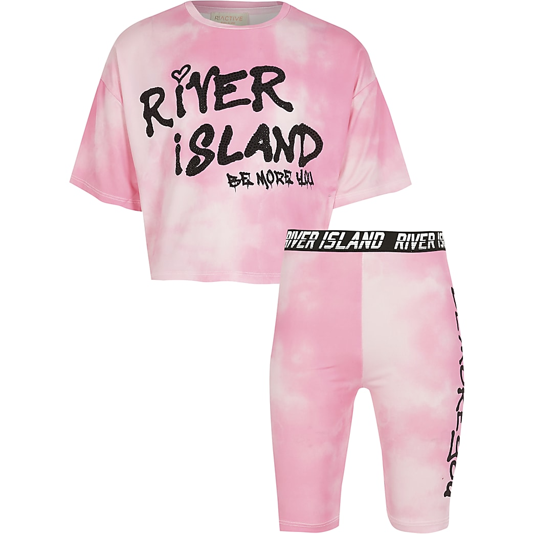 Girls pink tie dye t-shirt and short outfit