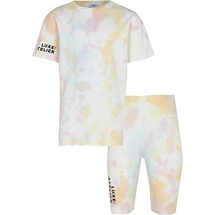 Girls pink tie dye t-shirt and short set