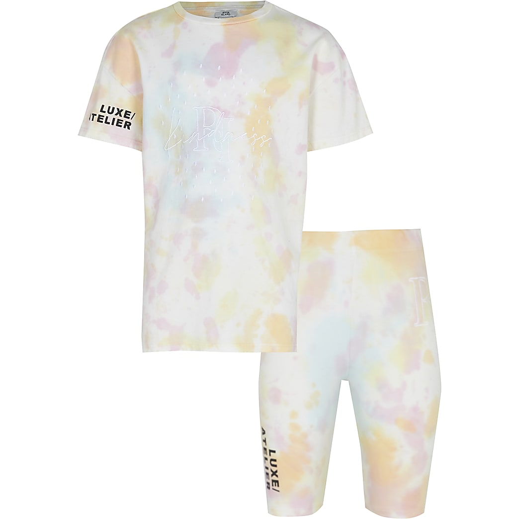Girls pink tie dye t-shirt and short set