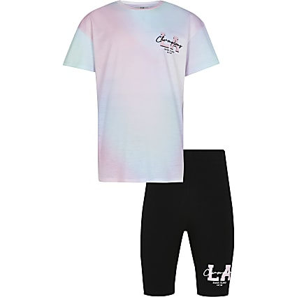 Girls pink tie dye t-shirt and shorts outfit