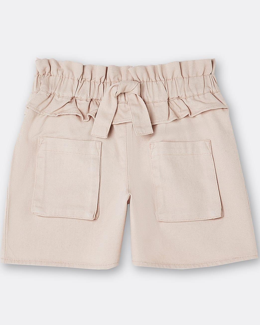 Girls pink tie waist frill shorts