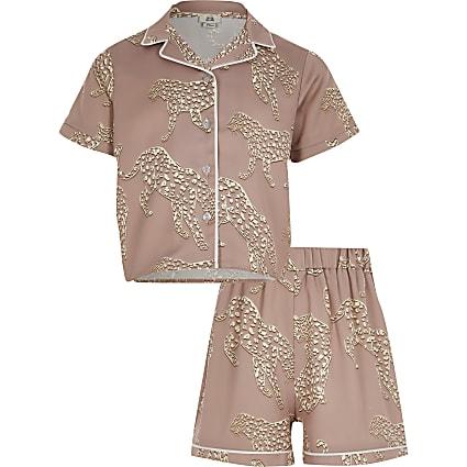 Girls pink tiger print satin pyjama set