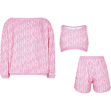 Girls pink towelling lounge set
