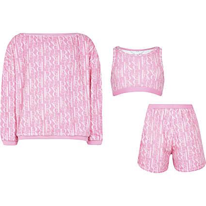 Girls pink towelling lounge set