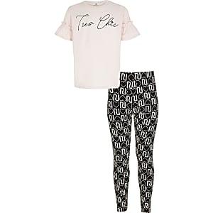 Outfit met roze T-shirt met 'Tres chic'-print voor meisjes