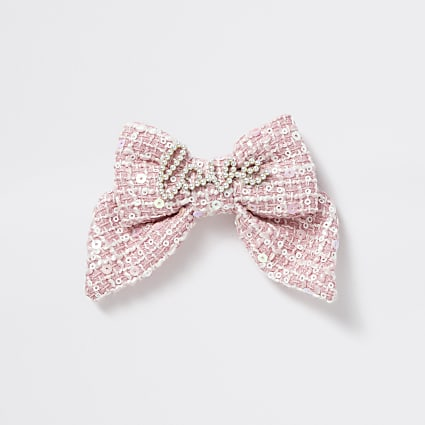 Girls pink tweed 'Love' pearl bow hair clip