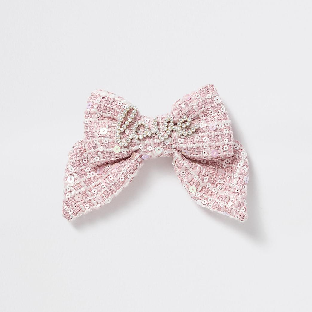 Girls pink tweed 'Love' pearl bow hair clip