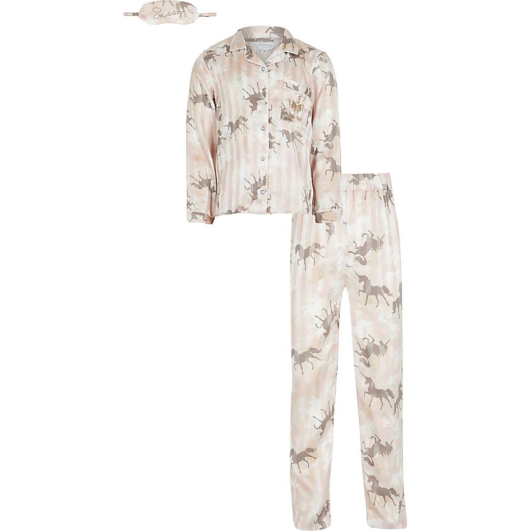 Girls pink unicorn camo satin pyjamas boxed