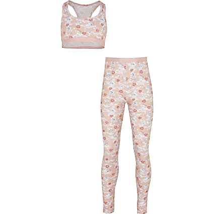 Girls pink unicorn crop top and leggings set