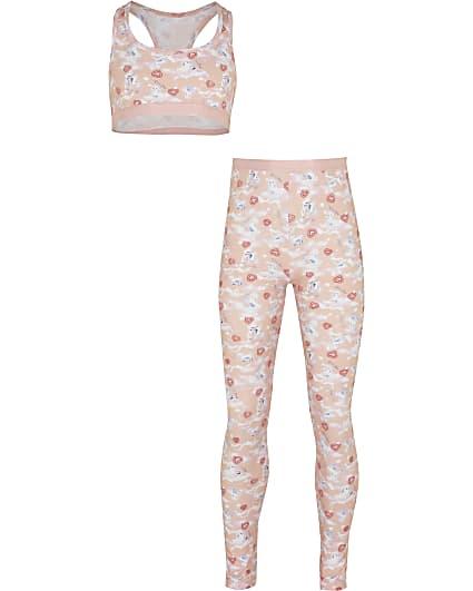 Girls pink unicorn crop top and leggings set