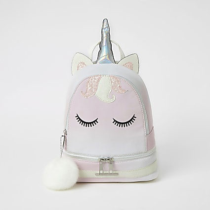 Girls pink unicorn embellished backpack