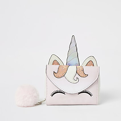 Girls pink unicorn pom pom purse