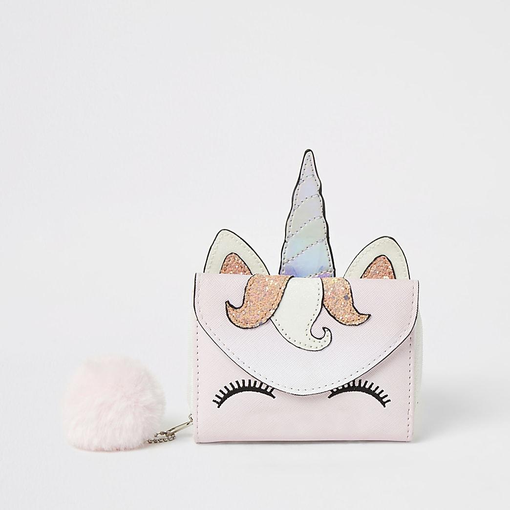 Girls pink unicorn pom pom purse