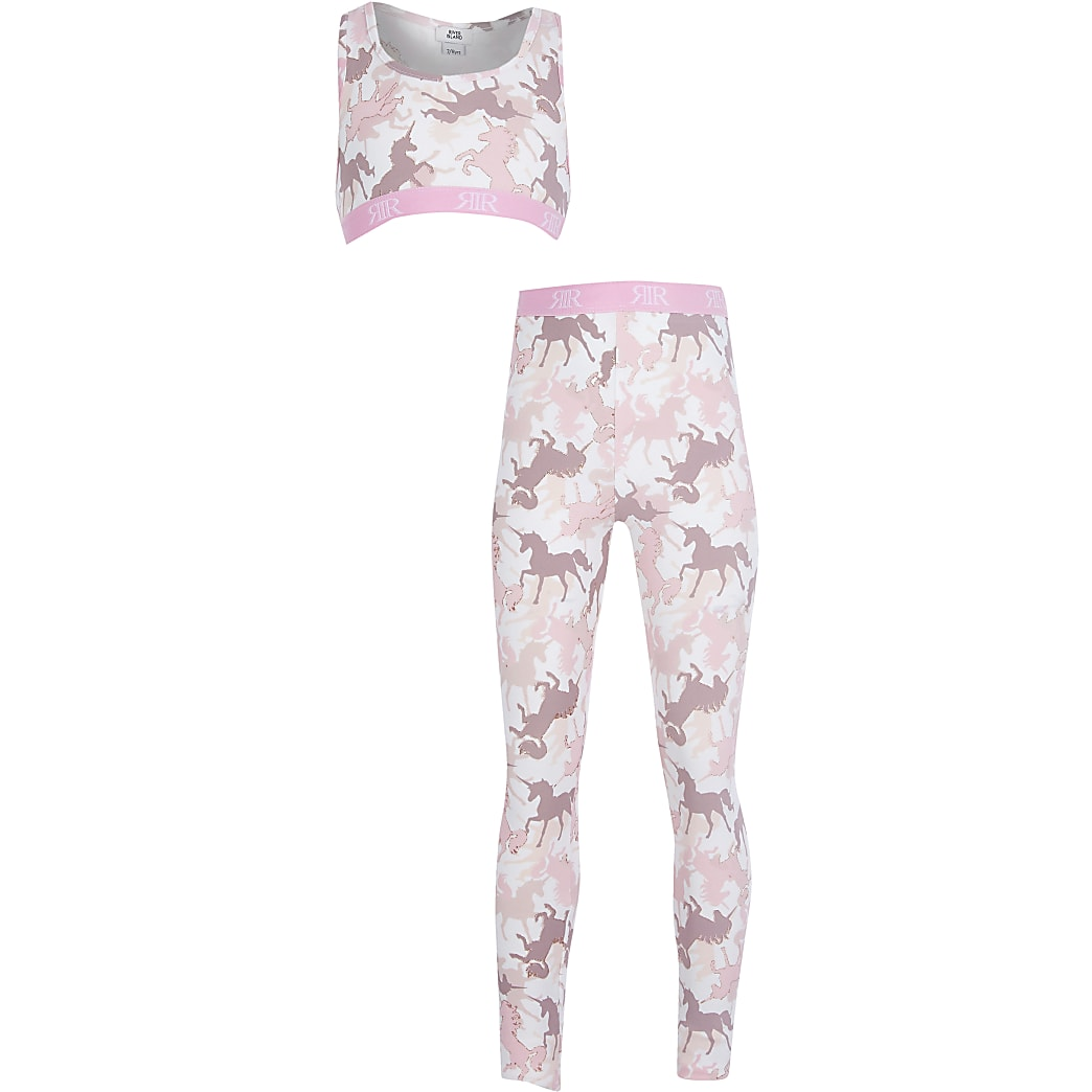 Girls pink unicorn print crop top set