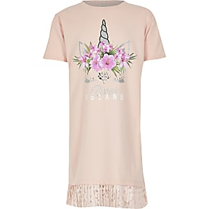 Robe t-shirt imprimé licorne rose pour fille