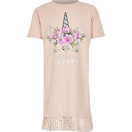 Girls pink unicorn printed T-shirt dress