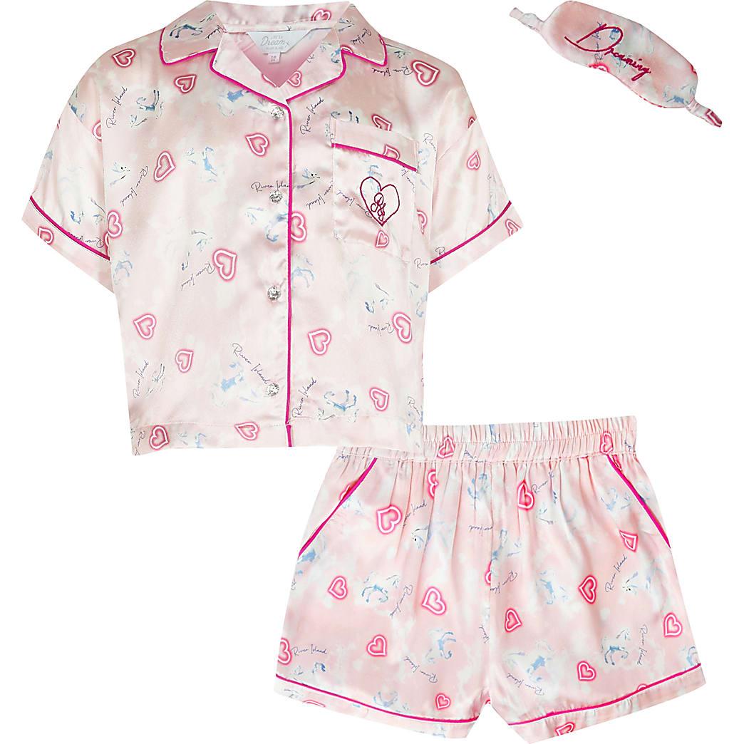 Girls pink unicorn satin pyjamas boxed