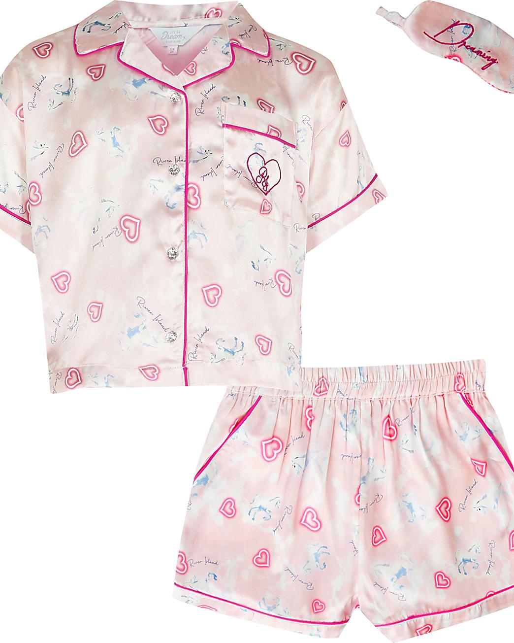 Girls pink unicorn satin pyjamas set