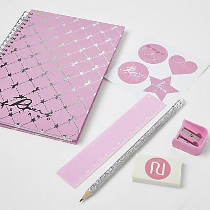 Girls pink unicorn stationery set